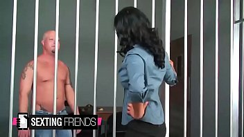 jail guard isis love stretches her vag open.