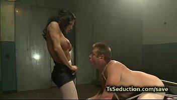 toned latina ladyboy predominates trussed boy