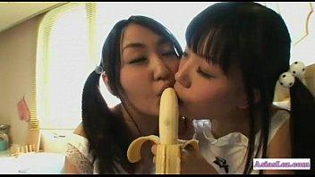 2 japanese women with diminutive boobs smooching fellating.