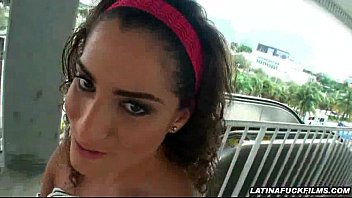 latina flashes in public before inhaling.