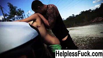 teenie gets pummeled in backseat