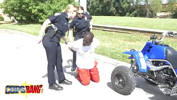 a ebony street racer gets arrested and filthy.