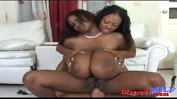 stud pummels two ebony nymphs with giant orbs.