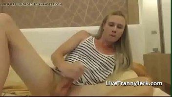 tgirl masturbates her meatpipe amp_ spunks
