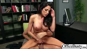 hoe office buxomy female pummels hard-core style at.