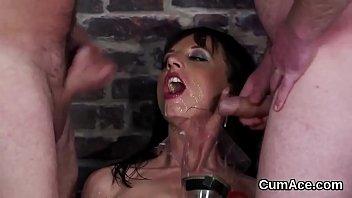 wild centerfold gets man-lava blast on her face.