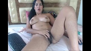 mexican dark haired nymph stretches her ash-colored unshaved.