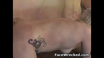 tatted up blond ada bomb blowing and railing.