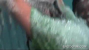 crazy school teenagers having a foam.