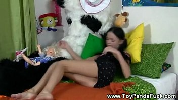 cheeky toypanda comes to life to taunt nubile gal