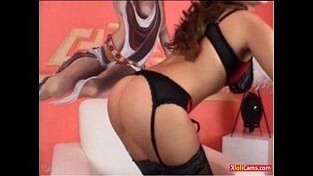 luxurious dark haired in underwear gropes herself on webcam