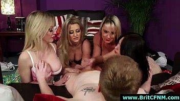 group of cfnm brit nymphs give hand-job to.