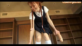 youthful school damsel leaps on hefty.