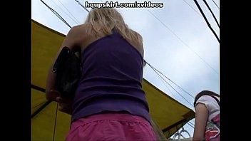 crimson-hot blond outdoor upskirts public
