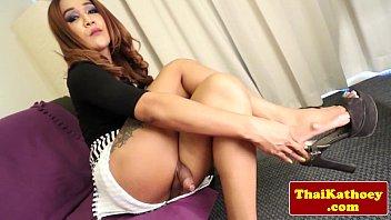 mature thai transgender princess caresses her.