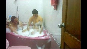 indian duo taking bathtub soaping each other bhabhi.