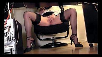 lengthy legged assistant under desk hidden cam webcam.