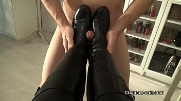 leather footwear pounded and spunk in.