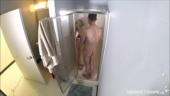 two naughty cougar moms deep-throating firm-ons then taking showers