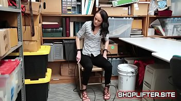vulnerable shoplyfter kylie martin strapped to tabouret with strap