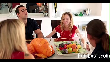 step stepsister inhales and penetrates brother-in-law during thanksgiving -famlustcom