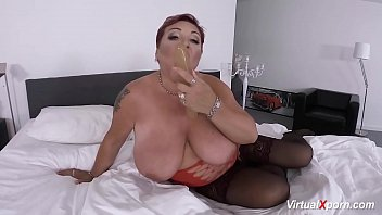 humungous-boobed red-haired plumper mature stroking