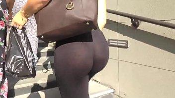 candid backside - observe-thru opened up pants ebony panty