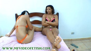 meaty ebony-haired doll demolishing 2 damsels inbetween her gams