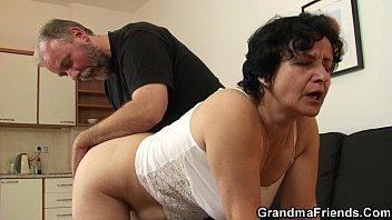 aged elderly grandmother in underwear gulps.