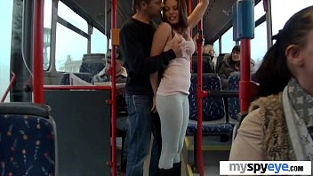 unexperienced duo having hookup on a city bus.