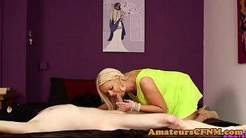 brit cfnm cougar blows intruders jizm-pump