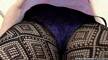 brit grannies diana and nub going solo in fishnets