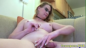 immense-boobed spex transsexual stroking her dick.
