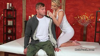 ash-blonde masseuse gives feetjob and ravage