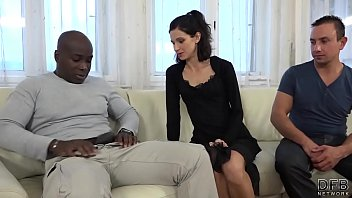 hotwife instructing wifey plows dark-hued stud in front.