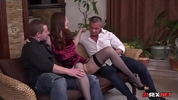 pantyhose and garter belt stunner blowing off two fellows