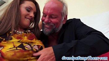 jizz sprayed nubile enjoys granddads ample.