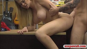 massive udders first-ever-timer silver-blonde stunner railed at the pawnshop