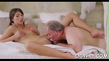 youthful playgirl munched by older man