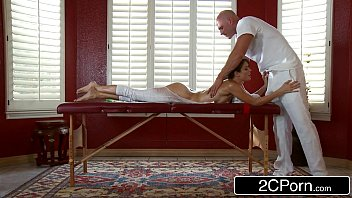 sloppy masseuse pays jenni lee visit with rubdown.