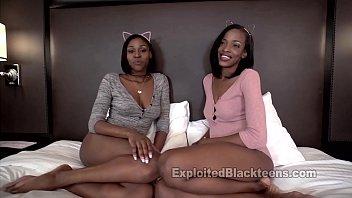 wondrous ebony sapphic sisters in three-way black rectal.