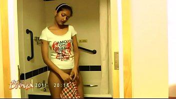 sweet divya in bathroom showcasing inborn desi brassiere-stuffers.