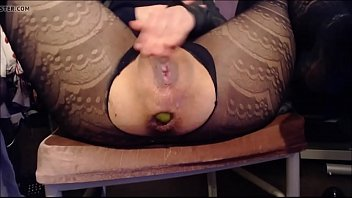 cougar inserts apples in her a-ravage-hole.