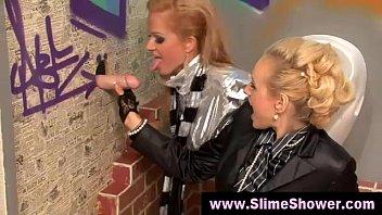 silver-blonde broads got a bukakke at the glory fuckhole