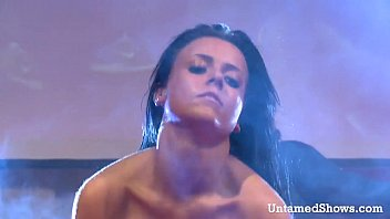 insane ebony-haired stripper milking on the.