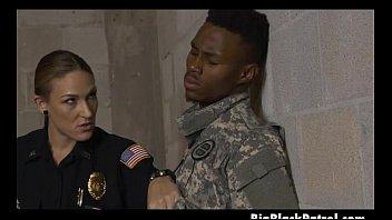 milky woman cops in uniform drinking down balck.