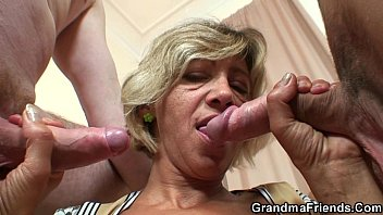 older mature takes two penises from.