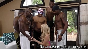 ash-blonde gets large ebony beef whistle.