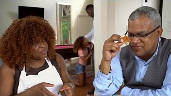 pretty ebony nubile fellating manmeat at family dinner soiree