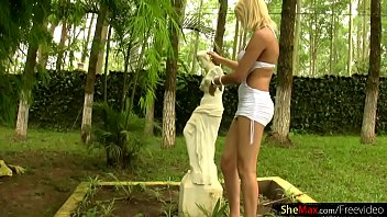 magnificent blondie transsexual pops out hefty hooter-sling-stuffers from.